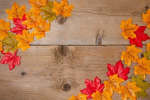 Autumn leaves on rustic texture.