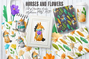 Flowers and Horses