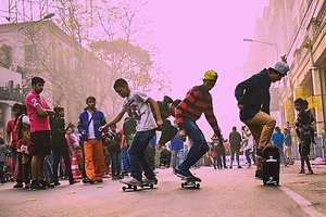 Group skateboarding fun