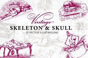 35 Vintage Skeleton & Skull Vectors