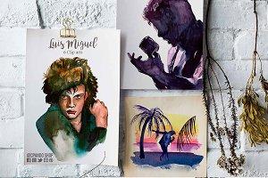 Luis Miguel watercolor clip art