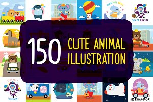 150 Cute Animals Illustration Bundle