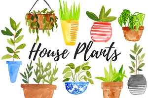 Watercolor House Plant Clipart