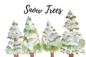 Watercolor Christmas Snow Trees