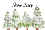 Watercolor Christmas Snow Trees