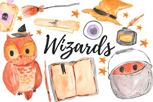 Watercolor Magic Wizard Clipart Set