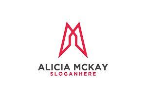 Alicia Mckay Logo Letter AM