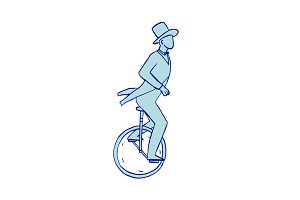 Circus Performer Riding Unicycle Dra