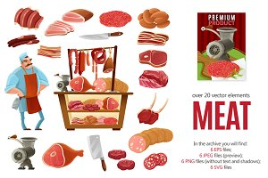 Meat Products Cartoon Set
