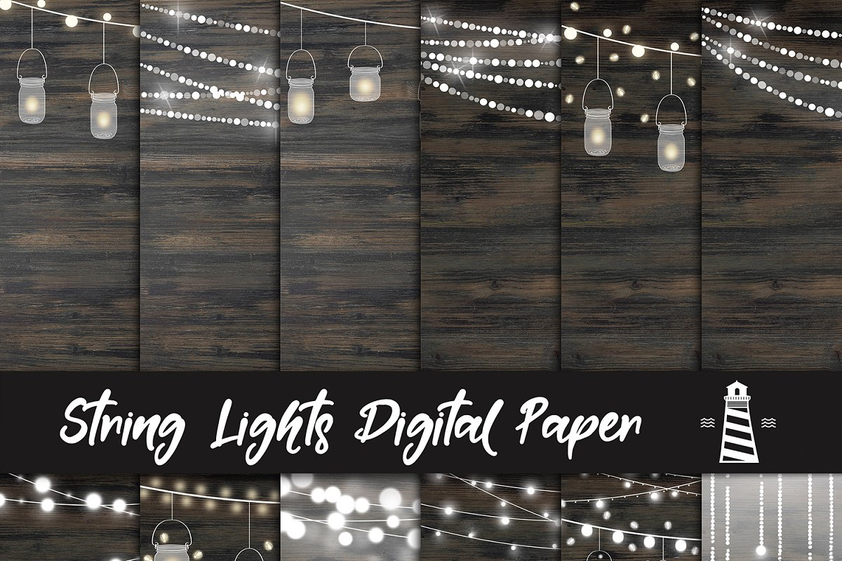 String Lights Digital Paper in Graphics - product preview 8
