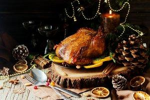 Baked turkey for Christmas Dinner or