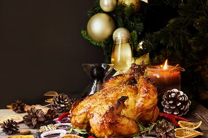 Baked turkey or chiken or Christmas
