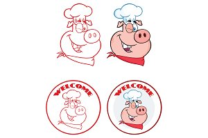Pig Face Circle Banner Collection