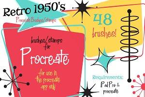 Retro 1950s Shapes Procreate Brushes