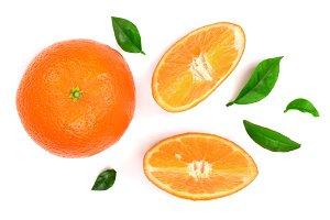 orange or tangerine with leaves