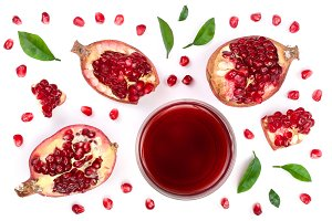 A glass of pomegranate juice with