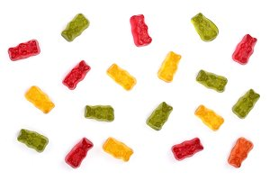 Colorful eat gummy bears jelly candy