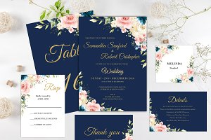 Blush Navy Gold Wedding Invitation