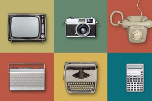 PSD file retro items background.