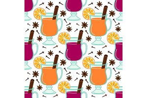 Cute Mulled Wine seamless pattern