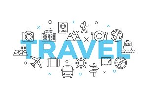 TRAVEL Concept with icons and signs