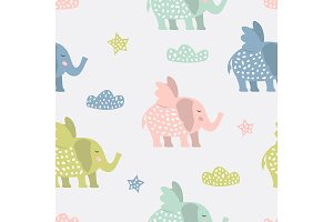 Childish pattern with elephants