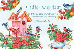 Hello winter watercolor illustration