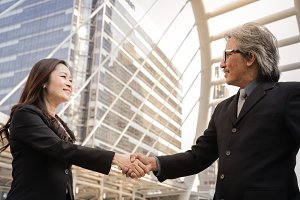 Senior business people shaking hands