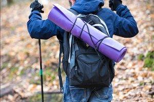 Nordic walking. A young boy going
