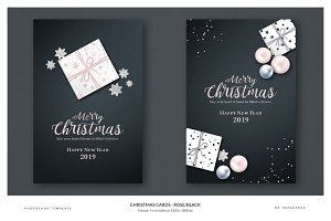 6 Christmas Cards - Rose/Black