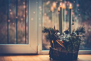 Christmas cozy home with candles