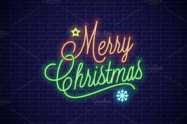 Christmas neon lettering