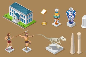 Isometric Museum Icons Collection