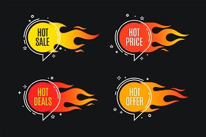 Flat linear promotion fire banner