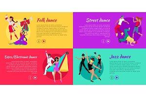 Set of Dancing Vector Web Banners in