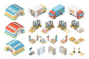 Isometric warehouse icon set, scheme