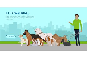 Dog Walking Banner. Man Walks with