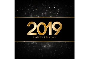 Happy New Year 2019 black background