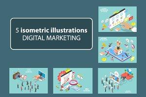5 isometric of digital marketing