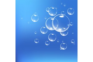 Realistic soap bubbles set isolated