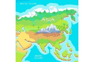 Asia Isometric Map with Natural