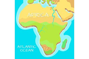Africa Isometric Map with Natural