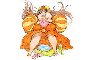 Plump anime girl eating donut