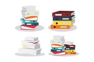 Set of Document Stacks Vector on