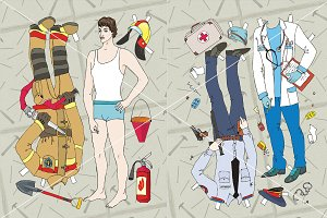Paper doll. Professions