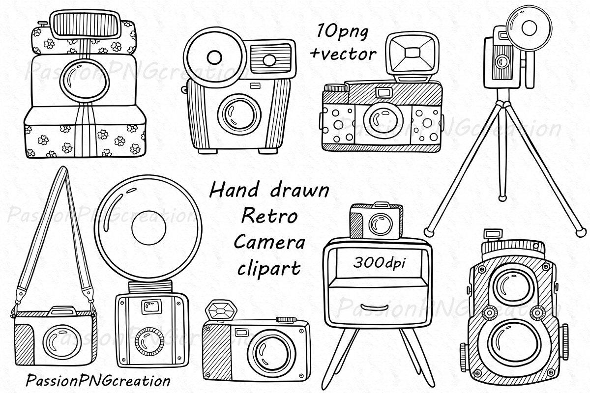 Camera hand drawn. Retro clipart