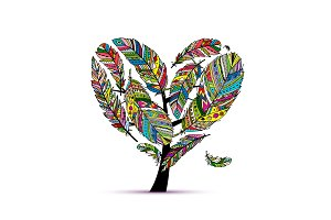 Love tree made from colorful