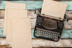 Vintage typewriter used paper sheets