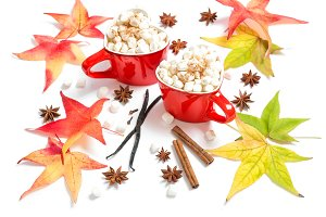 Red cups drink spices Flat lay decor