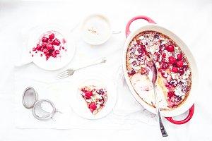 Rhubarb and Raspberry Clafoutis